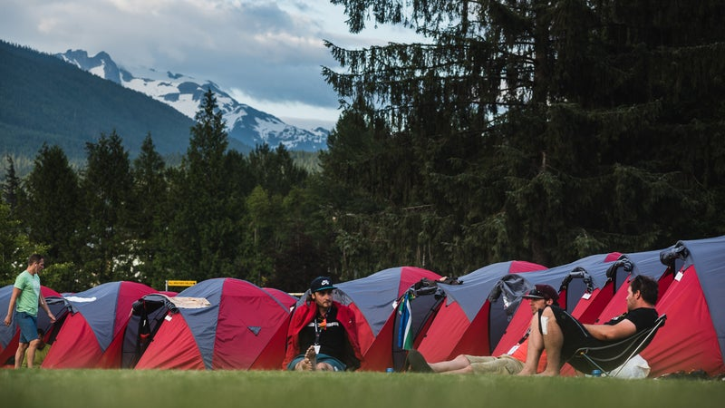 Camping with competitors on day seven in Whistler.