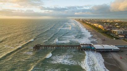 Aerial View Of Cocoa Beach Florida.