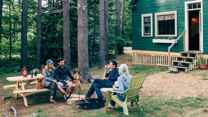Hanging out at the Oceanfront Cottages on Wolfe's Neck Farm in Freeport, Maine.