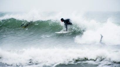 Surfing Rhode Island's coast.