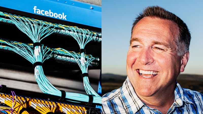 Facebook networking cables (left) and Facebook data center's former director of operations, Ken Patchett (right).