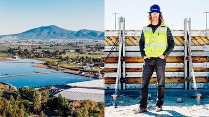 Prineville's new waste-water-treatment wetlands (left) and program manger Skyler Holloway (right).