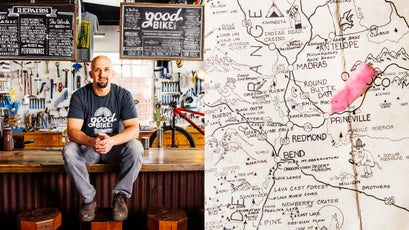 Owner of Good Bike Co., James Good (left) and a map of Prineville (right).