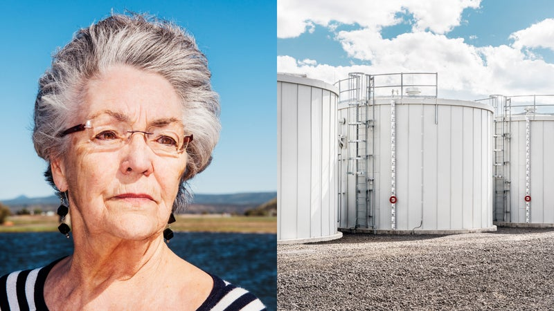 Mayor Betty Roppe (left) and water tanks at Apple (right).
