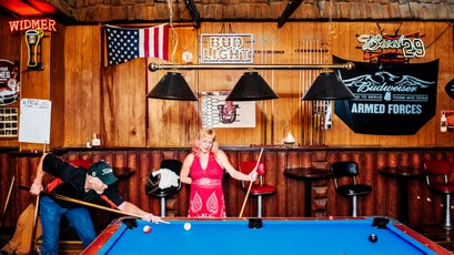 Playing pool at the Horseshoe Saloon.