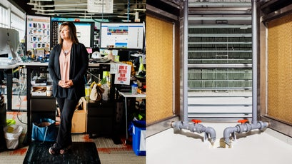Facebook's Ristine Williams (left) and cooling system (right).