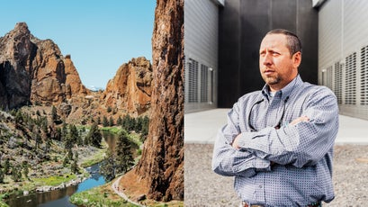 Smith Rock State Park (left) and Apple site manager Scott Moore (right).
