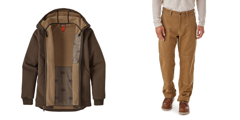 """The Burly Man hooded jacket ($199) is a hard-wearing, practical soft shell jacket that'll keep you comfortable through most conditions you'll find outdoors, or on a job site. The men's Double Knee pants are built to last, include practical features like a """"knife wedge"""" that helps support a pocket knife's clip as it rides in the slash cut pockets, and cost just $79."""