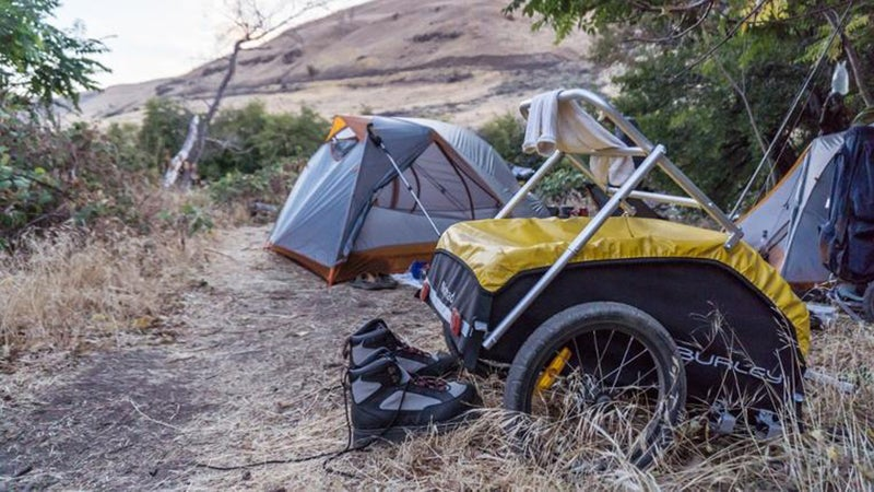 The two-wheeled trailer can carry up to 100 pounds while being remarkably maneuverable.