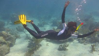 Johnson snorkeling in the Bahamas.