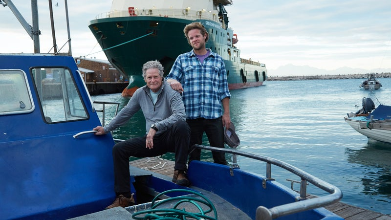 David and Nathan Garrison aboard an Oceans Research vessel in Mossel Bay, South Africa.