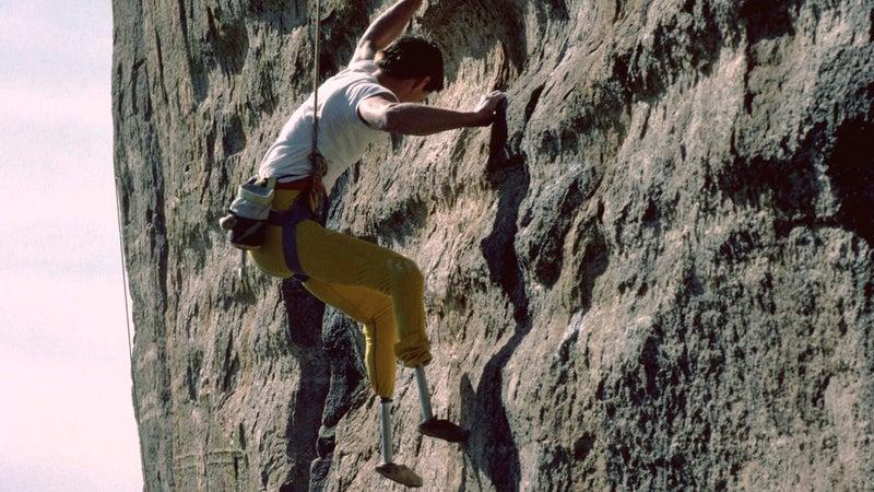 Herr on a 5.12 route on Arizona's Mount Lemmon in 1986.