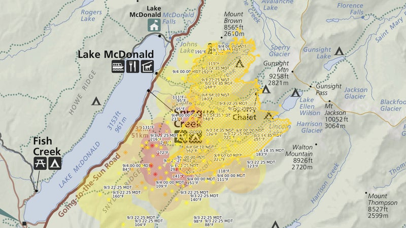 The Sprague Fire's approximate current extent, overlaid on a visitor map for Glacier National Park's Lake MacDonald area.