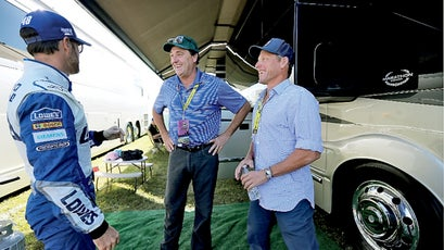 Armstrong and Joe Dilsalvo talk with their friend NASCAR Champion Jimmie Johnson before Jimmie's race at Homestead in Miami, Florida.