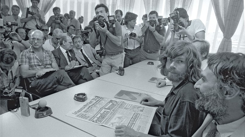 Italian adventurer and mountaineer Reinhold Messner during a press conference in Milan, July 13, 1984.