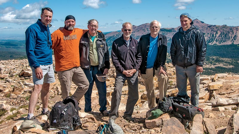 (From left) Chris Wejchert, Monty McCutchen, Roberts, Ed Ward, Matt Hale, and Jon Krakauer in Utah's Uintas Mountains, 2009.