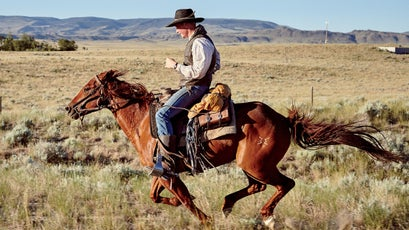 Pony Express riders reached speeds of 21 miles per hour. Rice and his horse Newt did, too.