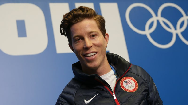 Shaun White of USA attends a press conference of the US snowboard team during the Sochi Olympics.