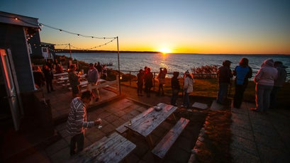The Montauket Hotel's bar is locals favorite spot for watching the sunset.
