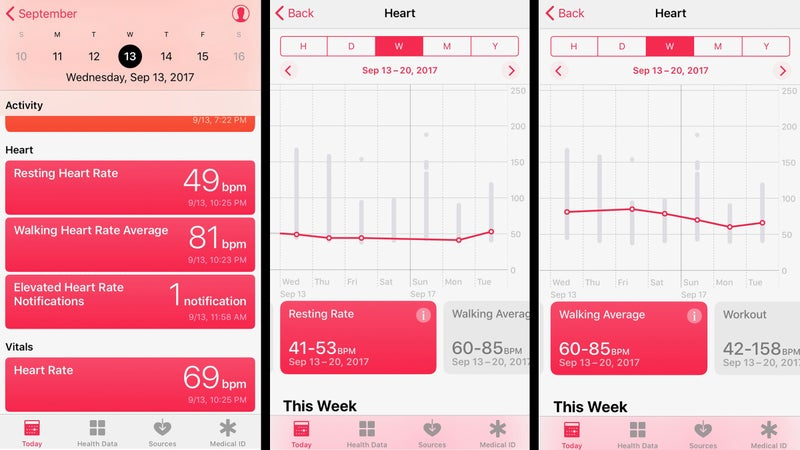 The Watch's heart rate monitor seen on your phone.