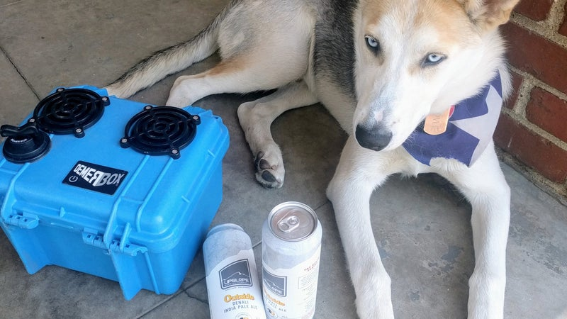 Tallboys and 52 pound puppy for scale. Note the installed bass tube plug, which results in a waterproof case.