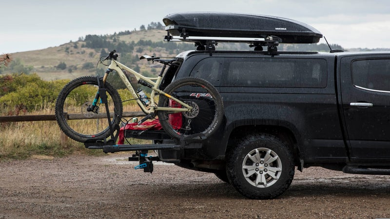 The Rocky Mounts BackStage Swing Away is the first mass-market, tray-style, hitch-mount bike rack that pivots bikes completely away from the rear of the vehicle.