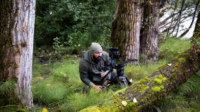 Peak Design employee Victor Murillo shoots video within the Alaska Chilkat Bald Eagle Preserve. As many as 4,000 bald eagles congregate along the Klehini and Chilkat rivers to feed on salmon.
