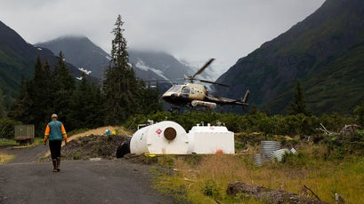 Helicopters shuttle mining personnel to various drilling sites in the mountains. Exploratory drilling could release harmful metals into the Chilkat watershed.This pollution, albeit measurable, is a fraction of that would be caused by a full-scale mining operation.