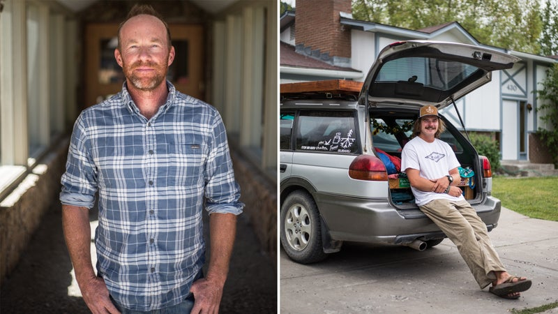 Pete Muldoon (left), mayor of Jackson Hole. Kevin Dehm (right) spends summers camping in his Subaru on national forest lands to save money while river guiding in the area.