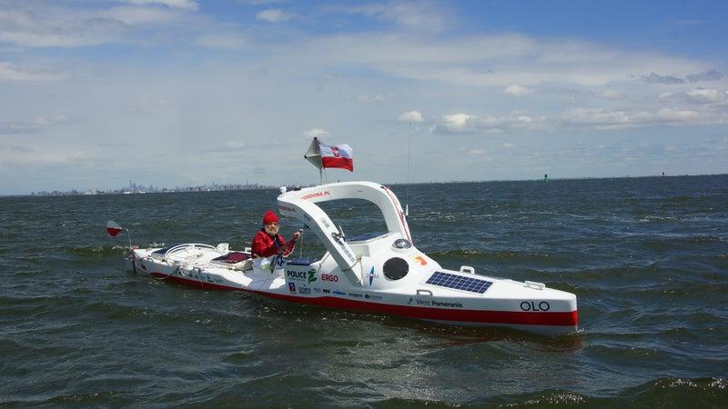 Aleksander Doba departs on his third trans-Atlantic journey, with New York City on the horizon.