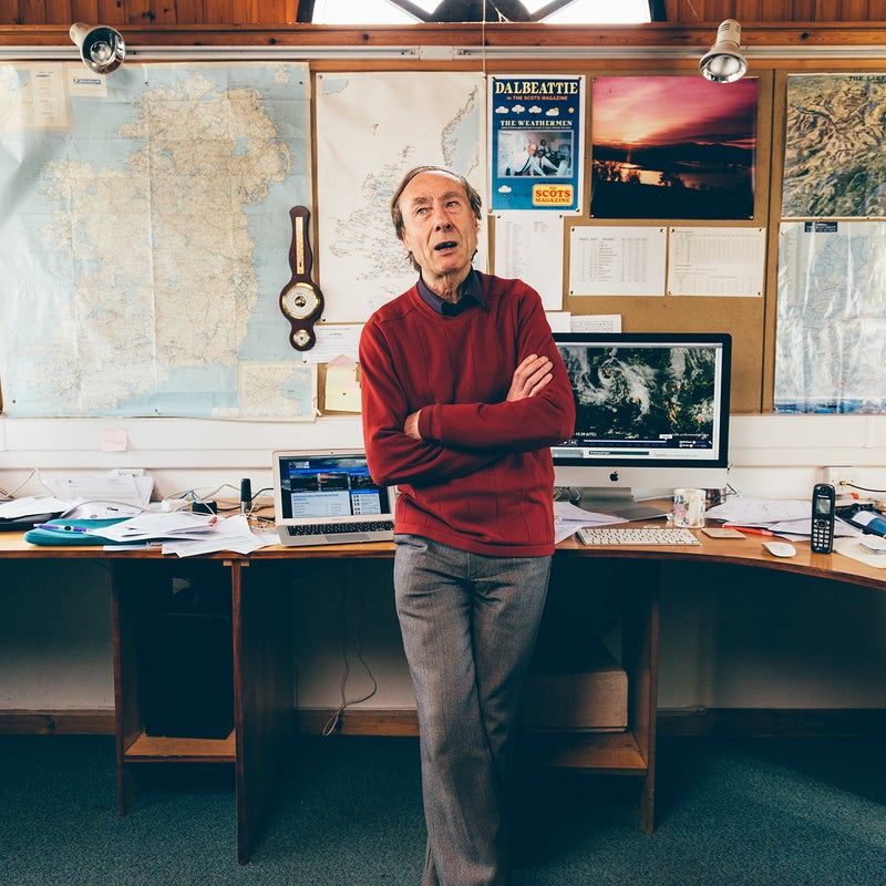 Geoff Monk, dreaming of snow in his office.
