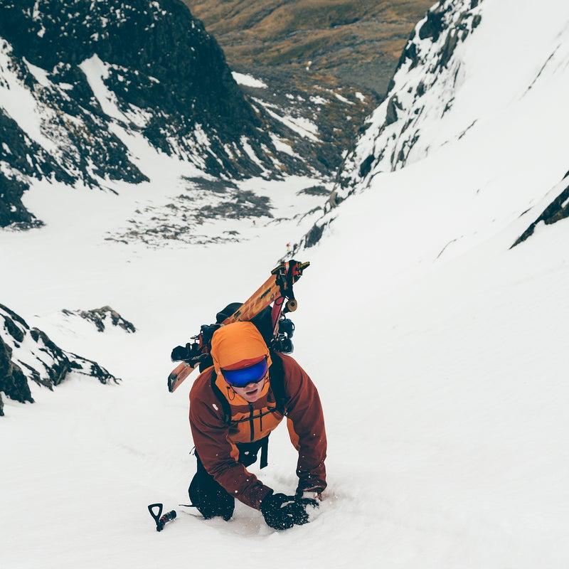 The author climbing Ben Nevis.