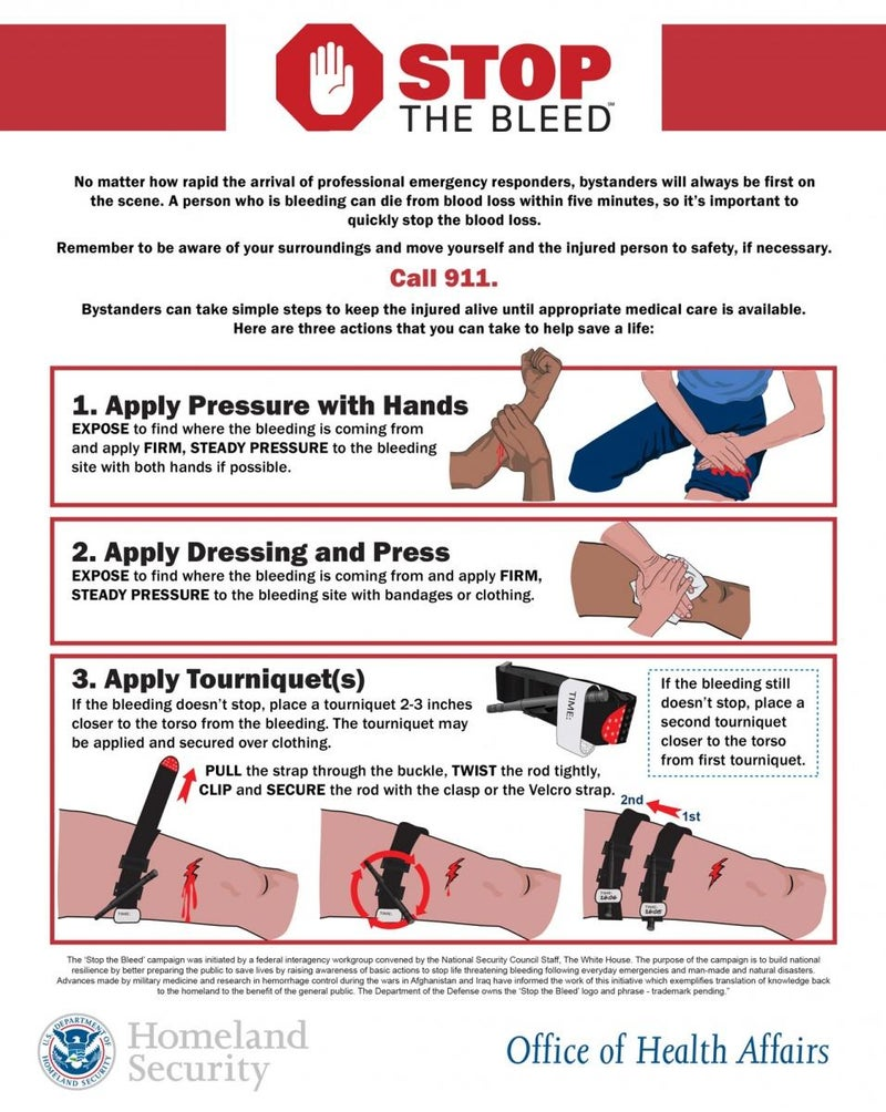 The Department of Homeland Security's official information leaflet on blood loss first aid.
