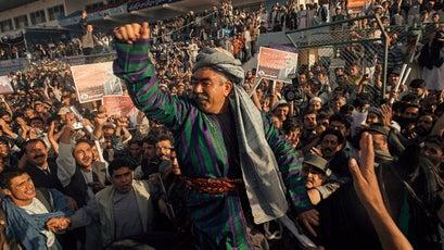 General Abdul Rashid Dostum campaigning in 2004.