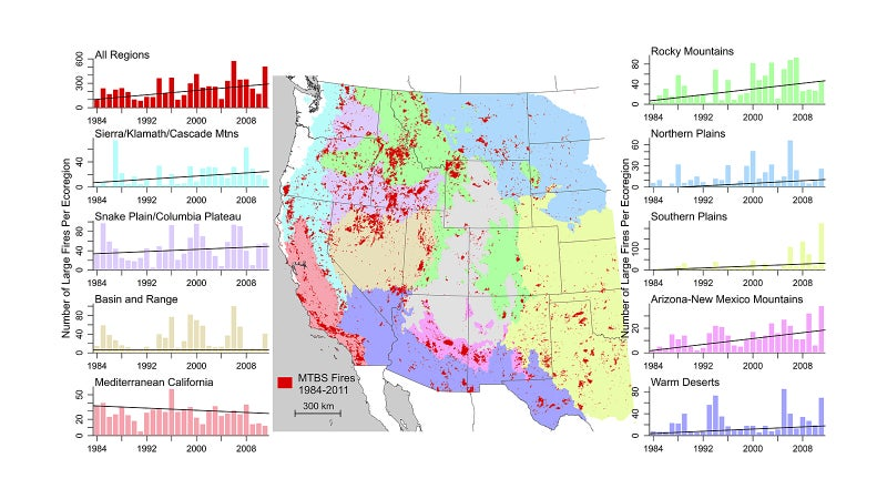 Western U.S. trends for number of large fires in each ecoregion per year.