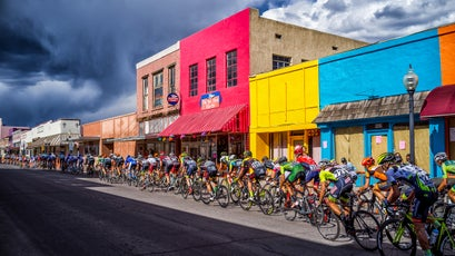 A cycling race passing through Silver City, New Mexico