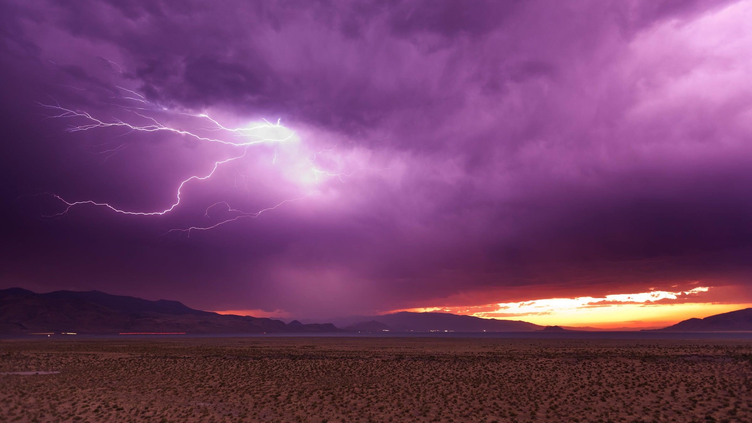 Lightning storm at dusk over Pyramid Lake, Nevada.