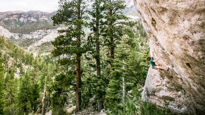 Paul Roberts on Warlord, 5.13a, at The Hood in Mt. Charleston, Nevada