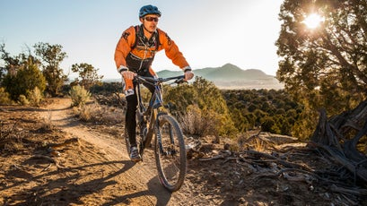 A mountain biker rides along the trail at Phil's World in southwest Colorado.