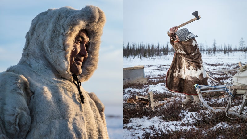 The Nenets migration across the Gulf of Ob requires warm clothes and lots of firewood.