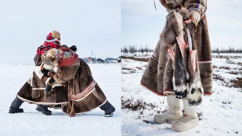 Play-wrestling; reindeer hooves.