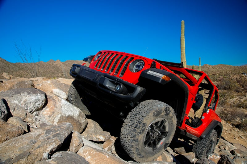 The Rubicon has no issue tackling boulders with its 84.2:1 crawl ratio. The lower the better—besting the 4Runner by two and a half times.