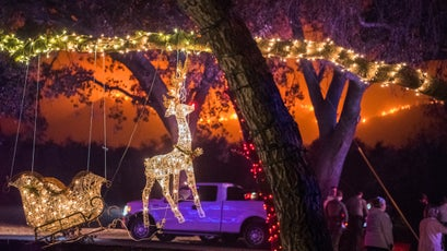 Christmas lights and the Thomas Fire in Ojai.
