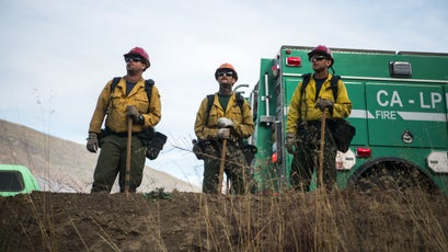 Forest Service firefighters at the start of a firing operation during the Thomas Fire in Los Padres National Forest near Ojai, December 9, 2017.