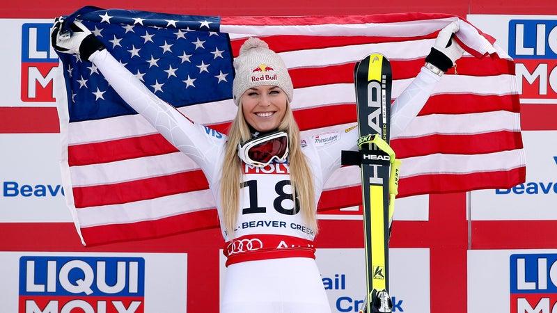 Vonn on the podium in 2015.