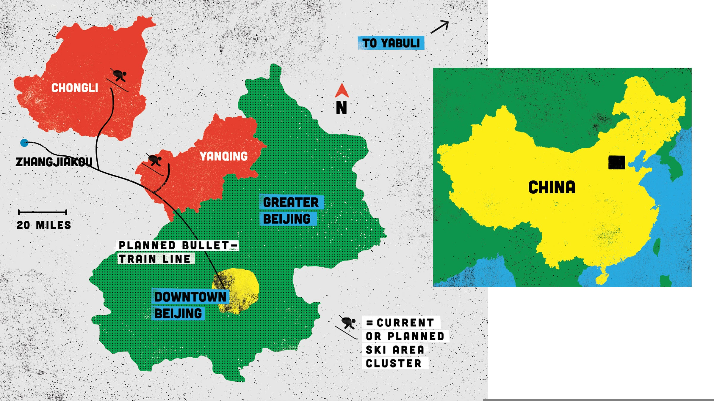 A map of ski areas and planned bullet trains near Bejing.