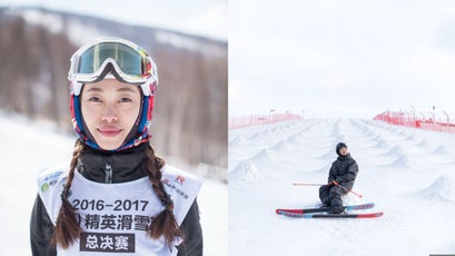 Ski racer Melody Wang before her race at Wanlong ski area; Uncle Cho, aka Xiouyuan Wang, clothing and app developer