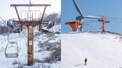 Abandoned Saibei ski resort; a wind turbine pokes from behind a Chang Cheng Ling Ski Resort chairlift.