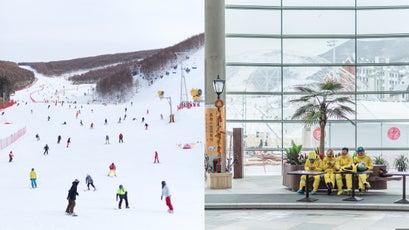 Wanlong ski resort; Fulong Chongli Four Season Resort, members of the Flower Ski School wait in a lobby