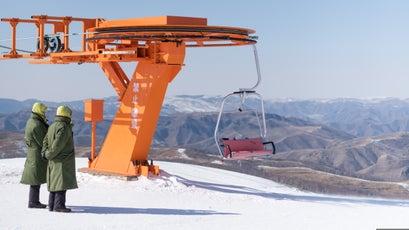 Chang Cheng Ling Ski Resort, government guards at summit